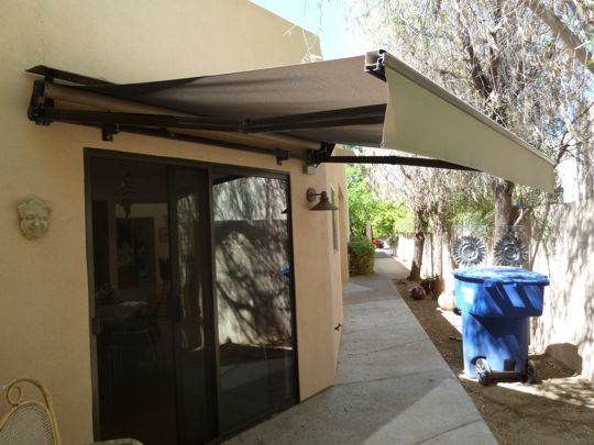 Use of 90% Textilene, instead of traditional acrylic awning fabric. Great idea!